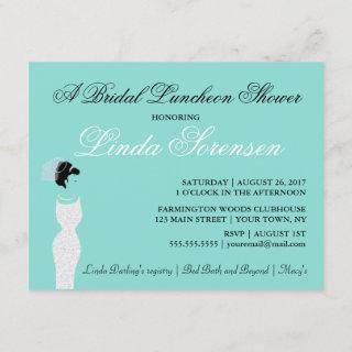 Beautiful BRIDE Teal Blue Bridal Party Shower Invitations