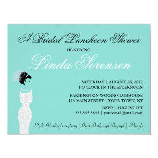 Beautiful BRIDE Teal Blue Bridal Party Shower Invitation
