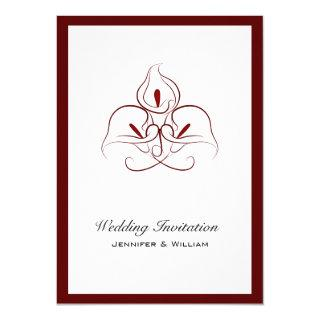 Beautiful Burgundy Calla Lilies Wedding Invitations