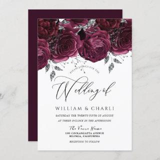 Beautiful Burgundy Roses Elegant Wedding Invitation
