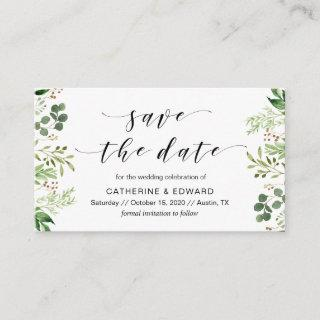 Beautiful Elegant Greenery, Black, Save the date Enclosure Card