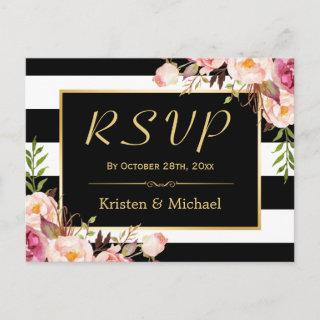 Beautiful Floral Black White Stripes Wedding RSVP Invitations Postcard