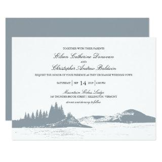 Beautiful Gray Mountain Pine Trees Lake | Wedding Invitations