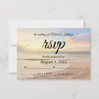 Beautiful Hawaiian Beach Wedding RSVP Card