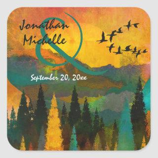 Beautiful Mountain Sunset, Trees and Birds Wedding Square Sticker