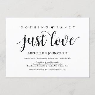 Beautiful nothing fancy just love wed elopement Invitations
