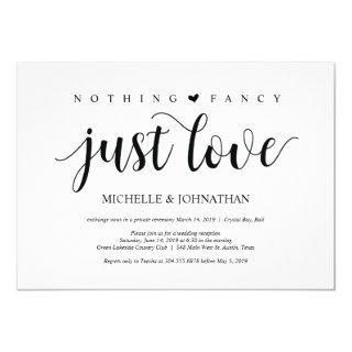 Beautiful nothing fancy just love wed elopement invitation