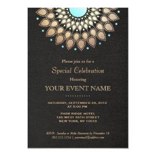 Beautiful Ornate Gold Lotus Mandala Black Invitations