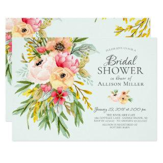 Beautiful Peonies Floral Bridal Shower Invitations