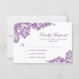 Beautiful Purple Lavender Lace Wedding RSVP Card