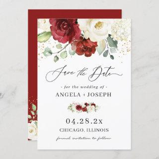Beautiful Red White Rose Floral Eucalyptus Wedding Save The Date
