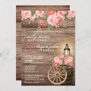 Beautiful Weathered Wood Barrel and Coral Flowers Invitations