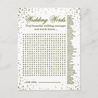 Beautiful Wedding Words Game Announcement Postcard