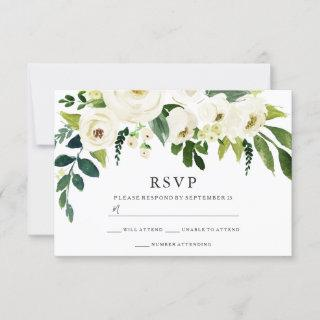Beautiful White Blooming Flowers Wedding Bridal RSVP Card