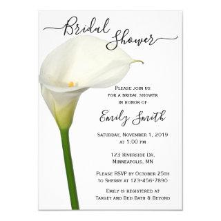 Beautiful White Calla Lily Floral Bridal Shower Invitations