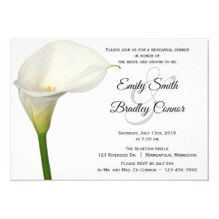 Beautiful White Calla Lily Floral Rehearsal Dinner Invitations