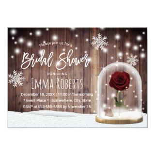 Beauty Rose Dome Rustic Winter Bridal Shower Invitation