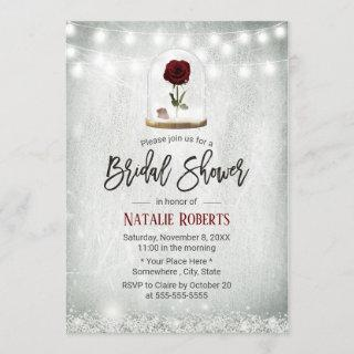 Beauty Rose Dome Winter Floral Bridal Shower Invitations