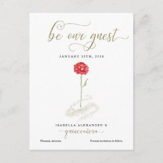 Beauty & the Beast Quinceañera Save the Date Announcement Postcard
