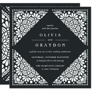 Beaux Arts Square Wedding Invitation | Charcoal