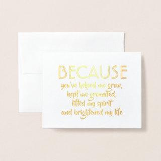 Because You Brightened My Life Bridesmaid Proposal Foil Card