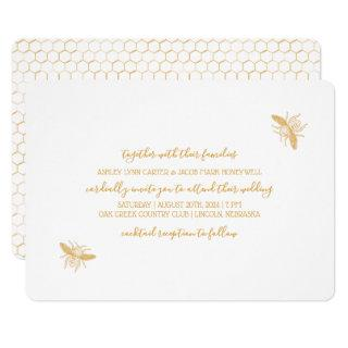 Bees and Golden Honeycomb Pattern Wedding 2 Invitations