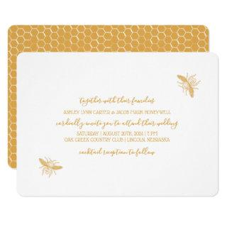 Bees and Golden Honeycomb Pattern Wedding Invitations