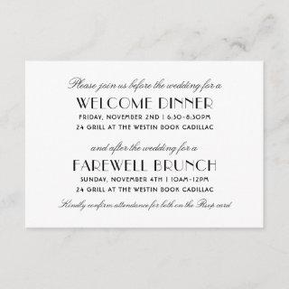 Before and After the Wedding | Black Art Deco Enclosure Card