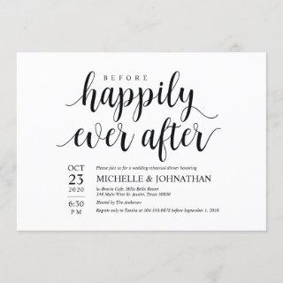 Before Happily Ever After Rehearsal Dinner Invites