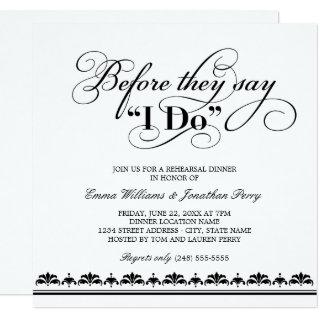 Before They Say I Do | Black Vows Rehearsal Dinner Invitation