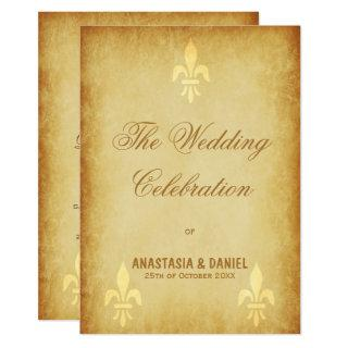 Beige gold de luxe French style fleur de lis Invitations