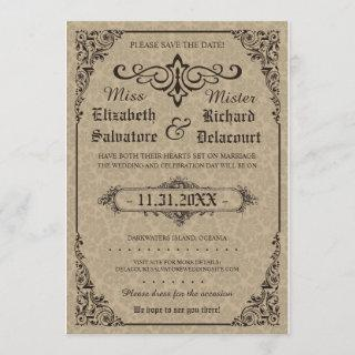 Beige Gothic Victorian Damask Save the Dates Save The Date