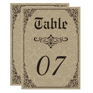 Beige Gothic Victorian Damask Wedding Table Number