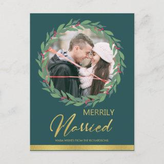 BERRIES WREATH OVERLAY GOLD PHOTO MERRILY MARRIED HOLIDAY POSTCARD