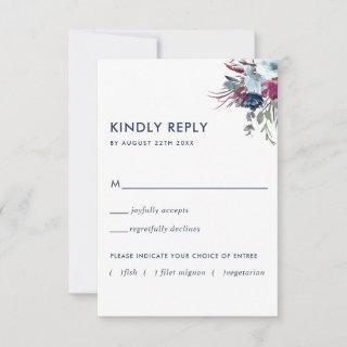 Berry and Blue Floral w/without Meal Options RSVP