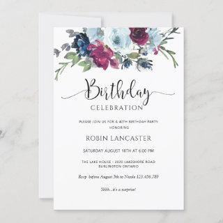 Berry, Blue, Burgundy Floral Birthday Invitations
