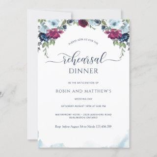 Berry, Burgundy and Blue Floral Rehearsal Dinner Invitation
