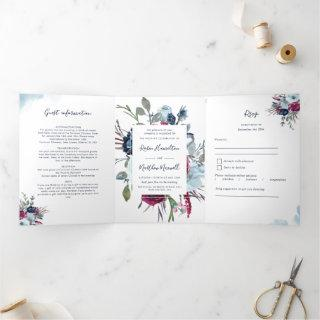 Berry Burgundy Blue All in One Wedding with RSVP T Tri-Fold