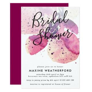 Berry Watercolor Orchid Bridal Shower Invitations