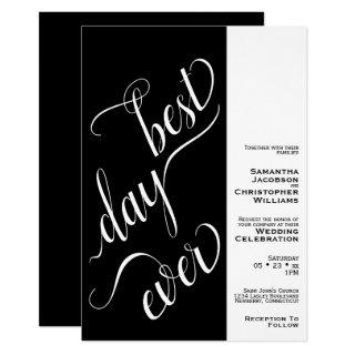 Best Day Ever Minimal 2 Pane Black Wedding Invitation