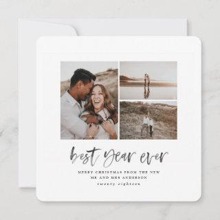 Best year ever watercolor photo flat card