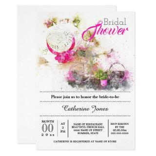 Bicycle summer french floral hat bridal shower Invitations