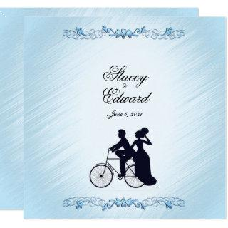 Bicycle Wedding Theme Blue  Invitations