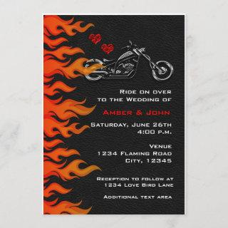 Biker Motorcycle Black Leather Flames Invitations