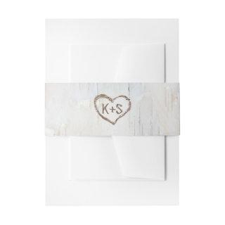 Birch Bark Carved Heart Rustic Wedding Invitations Belly Band