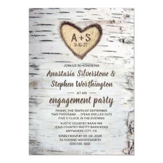 Birch Tree Bark Rustic Country Engagement Party Invitation