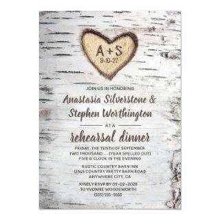 Birch Tree Bark Rustic Country Rehearsal Dinner Invitations