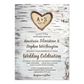 Birch Tree Bark Rustic Country Wedding Invitations
