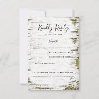 Birch Tree Bark Rustic Fall Wedding RSVP