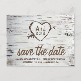 Birch Tree Bark Rustic Wedding Save the Date Cards